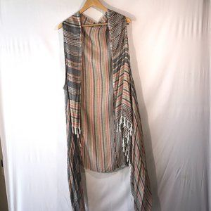 Lane Bryant Sleeveless Striped Duster Vest
